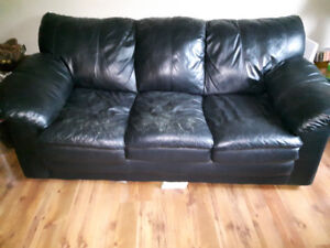 FREE BLACK LEATHER COUCH AND LOVE SEAT