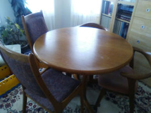Solid Teak Dining Room Table And Chairs Vintage