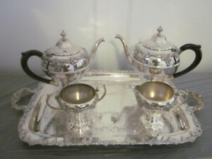 Old English Reproduction e.p. on copper 2565 Servery Tea Set Gra