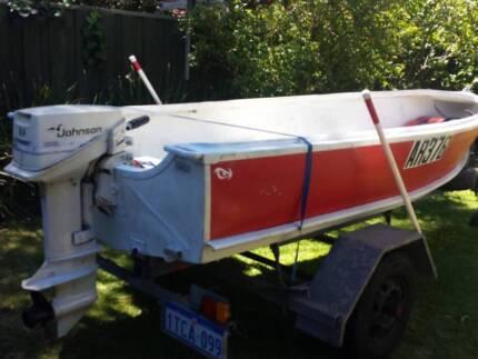 Dinghy 12ft aluminium, as new John Papas trailer, lic, 9.9Johnson