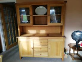 Large solid light oak dresser