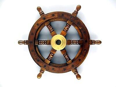 Messing Lenker Holz Piraten Schiffssteuerrad 50cm Ruder Wood Ship steering wheel