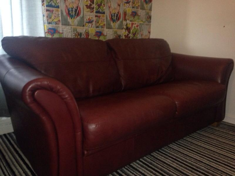 Red Leather Sofa For Sale In Shiremoor Tyne And Wear Gumtree