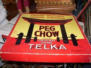 Vintage Board Game Chinese Checkers Peg Chow Original Telka
