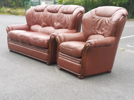 Brown Italian Leather 3 Seater Sofa and Chair