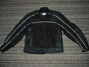 Lady's Frank Thomas Black Leather Motorcycle Jacket with Armour