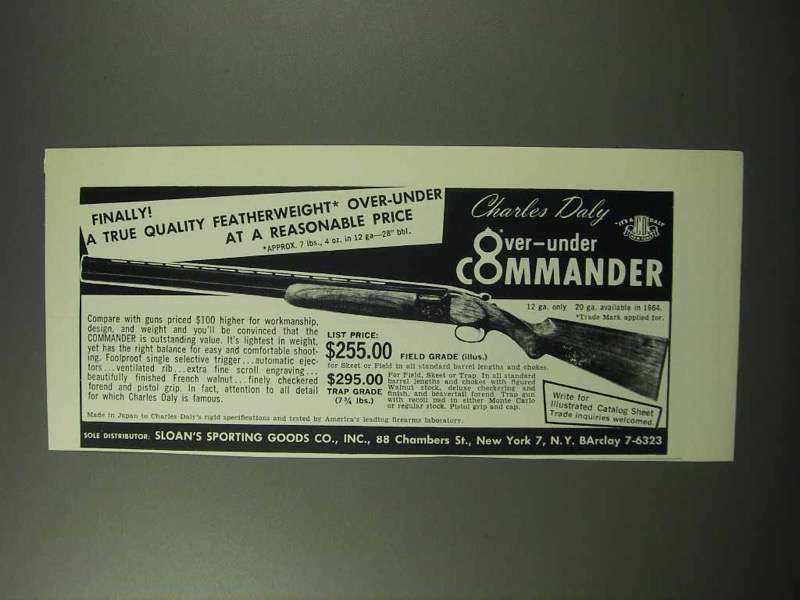 1963 Charles Daly Over-under Commander Shotgun Ad