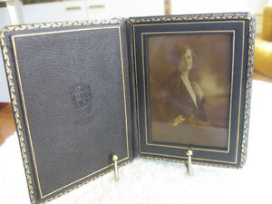 ANTIQUE LEATHER MINIATURE-DORE DELUXE FRAMED PHOTO ['50's]
