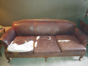Antique leather couch and chair