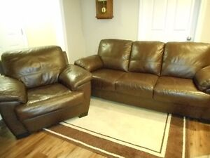 Genuine leather chair and couch with rug