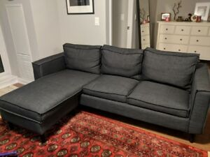 DARK GREY YORK SECTIONAL SOFA / COUCH - INTERCHANGEABLE
