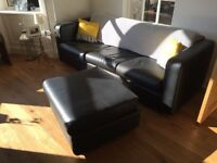 Habitat Porto 3 seater black leather sofa and footstool