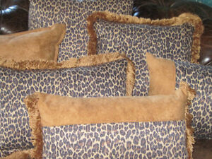 Brand New Custom Leopard & Suede Down Feather Pillows