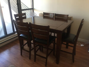 Counter Height extendable Table Set with Butterfly Leaf
