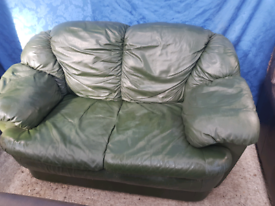Dark Green leather 2 seater sofa