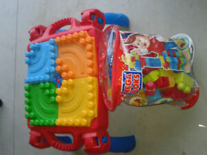 Mega Blocks table & full bag of blocks