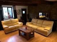 Cream Leather 3 + 2 Seater Sofa Set Good Condition Delivery Possible