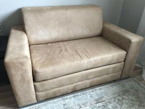 Sliding sofa bed loveseat