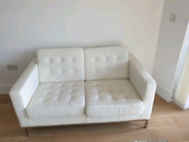 Free Delivery white leather 2 seater Sofa & Armchair