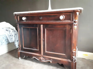 Moving Sale - TV stand, wicker chairs, marble top vanity, bed