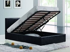 SUPERB OFFER DOUBLE LEATHER BED WITH STORAGE OTTOMAN LEATHER BED WITH SEMI ORTHOPAEDIC MATTRESS