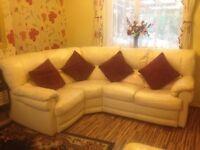 Cream Leather Corner Sofa & Recliner Armchair