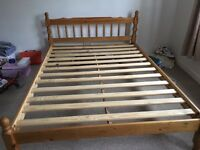 Wooden double bed + mattress