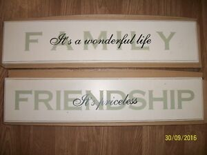 Pair of wooden wall hangings decorative plaque Family Friendship