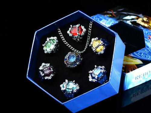 7PCS Anime Katekyo Hitman Reborn Vongola Cosplay Rings Necklace Jewelry Prop Set