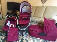 Hauck Malibu All in One Travel System Pushchair Car Sear Cot pram