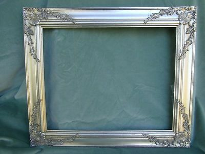 großer Bilderrahmen Prunk Gemälde Wandrahmen  Rahmen Antik-silber Holz 63x53x2c