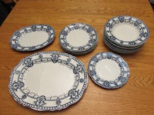 "18 Pieces Antique/Vintage Adderleys ""Laurier"" Flow Blue Ironsto"