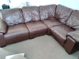 DFS Leather Corner Sofa and Reclining Chair