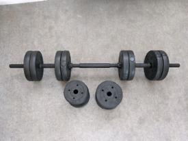 Opti Vinyl Barbell and Dumbbell Set - 30kg