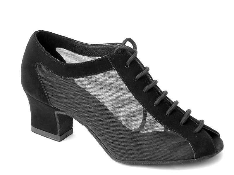 1643 Black Nubuck Swing Ballroom Salsa Latin Dance Shoes heel 2 Size 7.5 Very fi
