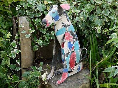 Patch Multi-Coloured Metal Dog Animal Outdoor Garden Sculpture Statue Large 61cm