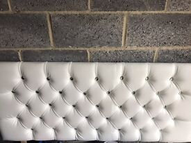 White faux leather/diamanté king size head board