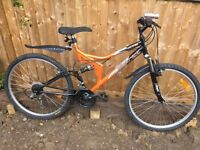 """18"""" full suspension bicycle. Inc new lights & mudguards. Free delivery. D lock available"""