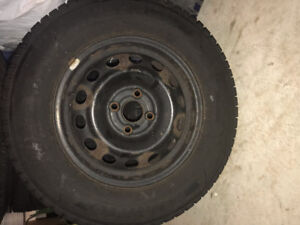 SELLING 4 KUMHO 14INCH WINTER TIRES WITH RIMS