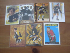 Phil Esposito 7 Hockey Card Lot, 6 are inserts 4 are #'d Bruins