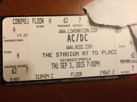 2 tickets AC/DC FLOOR SEATS - SEPTEMBER 3rd - TD PLACE