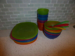 IKEA plastic dishes (6 plates, 6 bowl, 5 cups, 6 spoons)