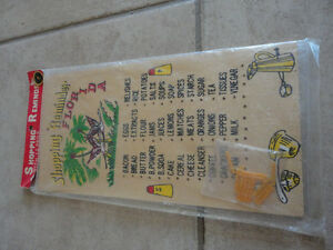 Vintage wooden peg grocery shopping list organizer wall hanging
