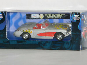 New Ray 1/43 Scale 1957 Corvette Diecast Car Silver With Flames