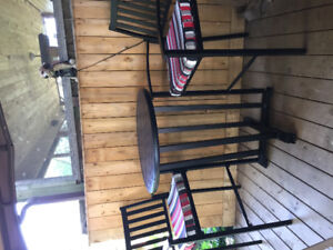 Patio table with 2 chairs still in great shape bought a year ago
