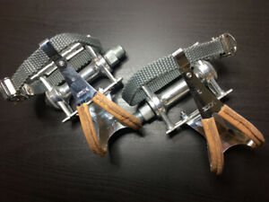 NEW never used MKS Sylvan Track Pedals With Chrome Toe clips