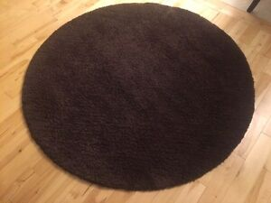 Brown Shag Round Area Rug