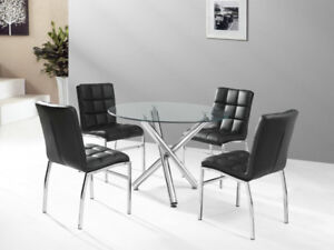 Tempered Glass Round Dinette Set With 4 Chairs  for only $399.