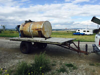 16 x 8 foot hay trailer with 500 gal water tank