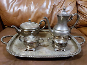 Silver Coffee and Tea Set with Sugar, Cream and Serving Plate
